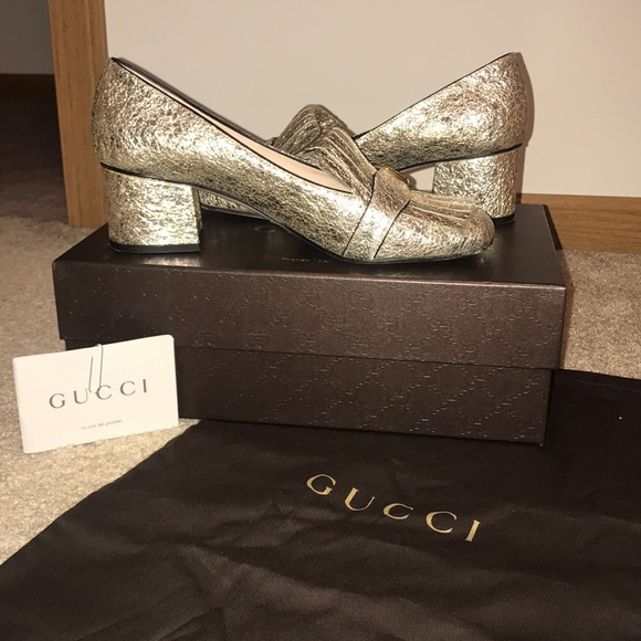 6bfaacad992 Gucci Shoes - Gucci Marmont fringed metallic mid pump loafers